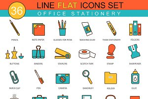 36 Office stationery flat line icons