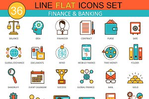 Finance & banking flat line icons