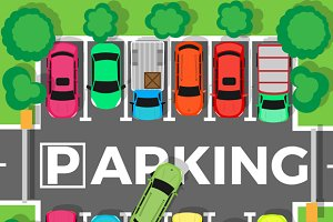Parking Top View Vector Illustration