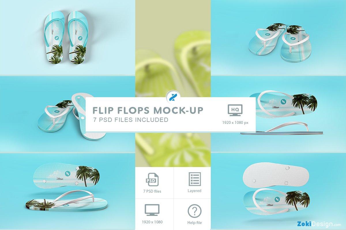 efb9e9b4e Flip Flops Mockup ~ Product Mockups ~ Creative Market
