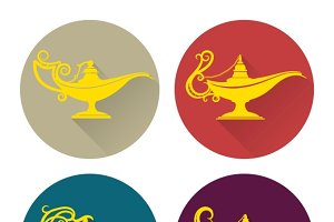 Flat aladdin lamp icons set