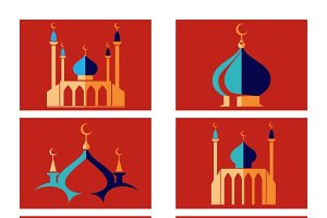 Arabic islamic dome of mosque icons