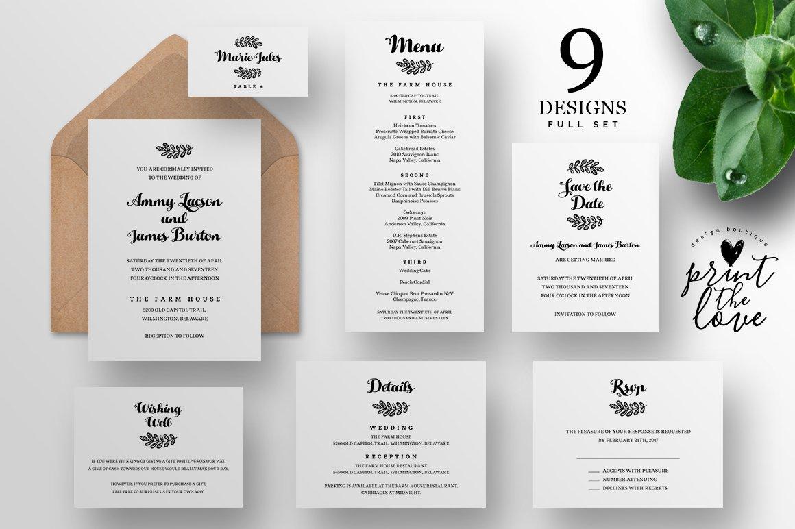 Wedding Invitation Suite Fiora Templates Creative Market