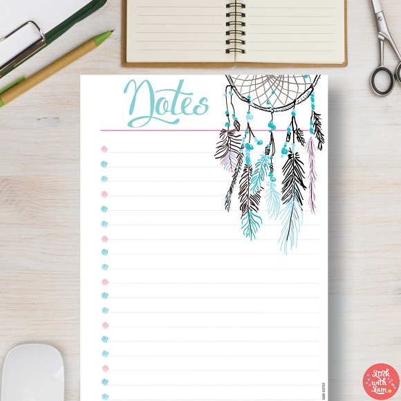 printable planner notes page stationery templates creative market