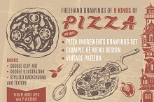 Vintage Hand-drawn Clip-art of Pizza