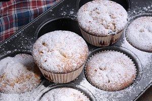 Muffins sugar powder