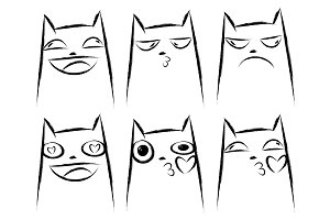Set of cats emotions. Cats faces.