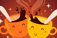 Smiling cups of coffee