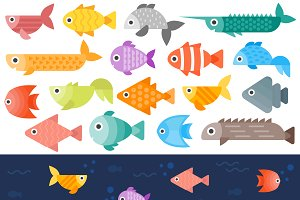 Underwater fishes vector set