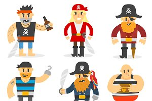 Cartoon pirates vector set