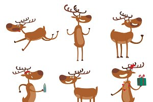 Cartoon deer vector set