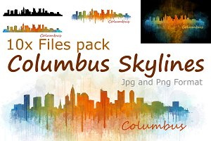 10x files Pack Columbus Skylines