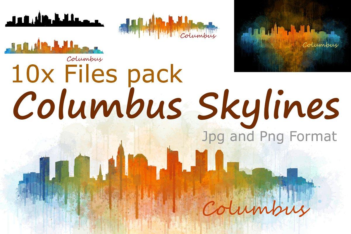 10x files Pack Columbus Skylines