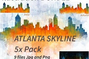 9x Bundle atlanta city skyline.