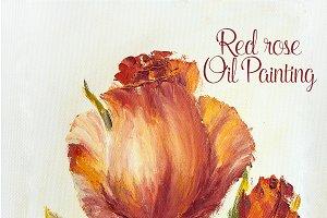 Beautiful rose, oil painting