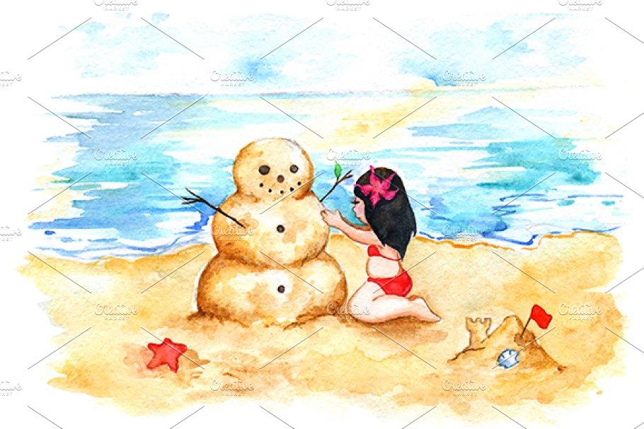 Watercolor sea beach sandman girl