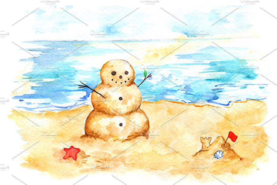 Watercolor sea ocean beach sandman