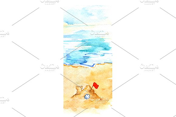 Watercolor ocean beach sand castle in Illustrations