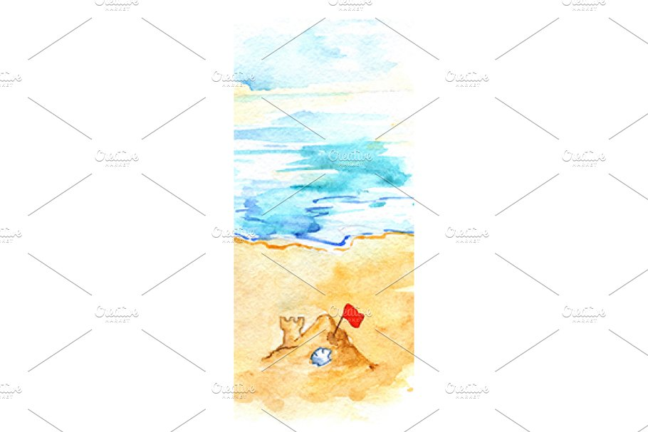 Watercolor ocean beach sand castle in Illustrations - product preview 8
