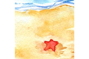 Watercolor sea shore beach seastar