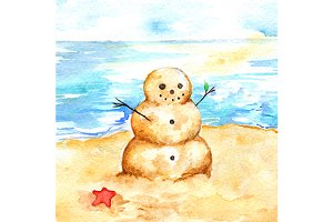 Watercolor summer sea beach sandman