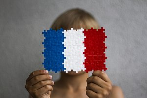 Boy with a French flag