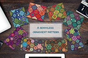 Set of 8 seamless ornament patterns