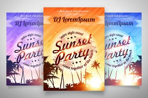4 EPS Sunset Party posters templates