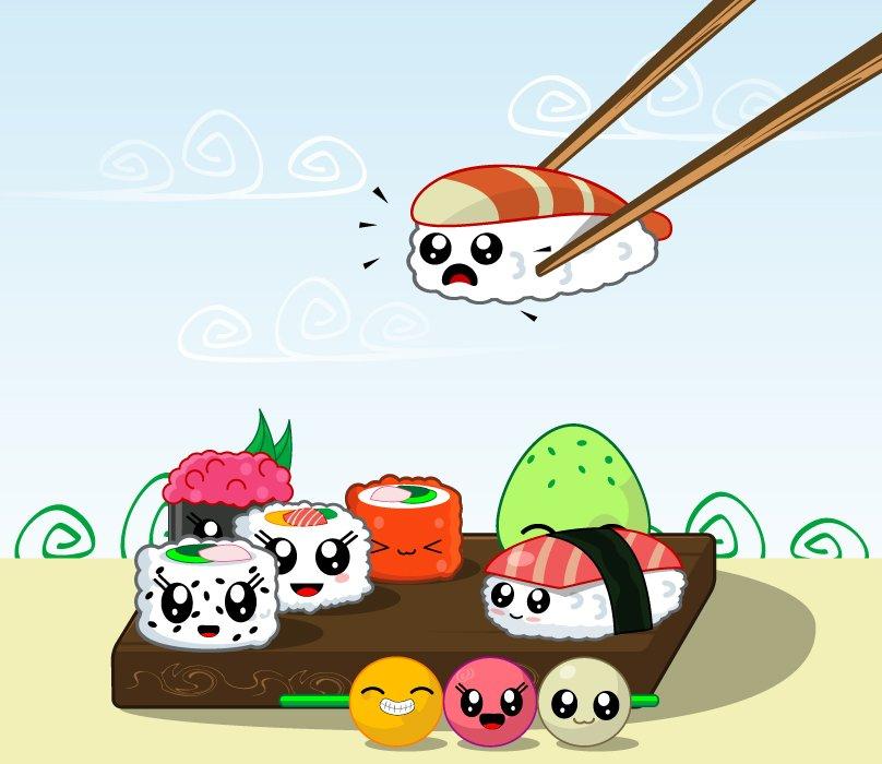 Photography Logos Set: Japanese Sushi Food Vector Icons Set