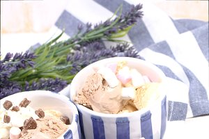 Vanilla and chocolate ice cream