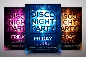 Star dust Disco Night posters set