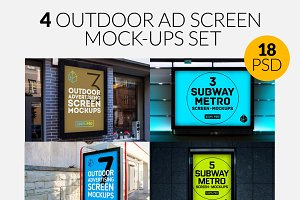 4 Outdoor Ad Screen Mock-Ups Set