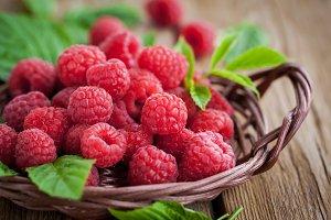 Fresh ripe raspberry