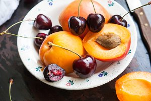 Apricots and cherry
