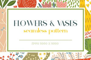 Flowers&Vases seamless pattern