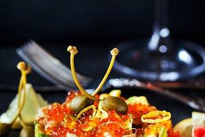 Salmon, caviar and avocado tartar
