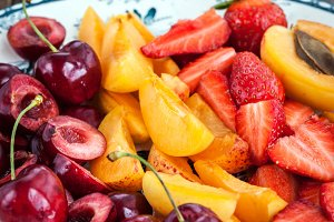 Fresh juicy sliced fruits