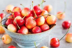Fresh wet summer pink cherry