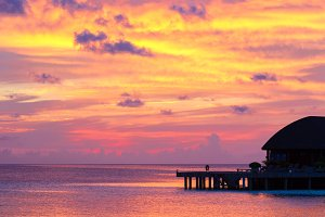 Beautiful colorful sky on sunset at tropical island in Indian Ocean
