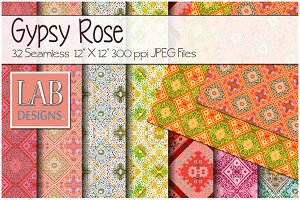 32 Gypsy Print Fabric Textures