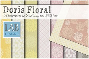 24 Floral Pattern Fabric Textures