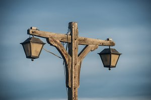 old fashioned wooden street light