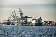 cargo ship sailing to port