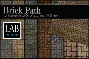 22 Seamless Brick Path Textures
