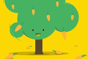 Cute Carrot Tree Vector