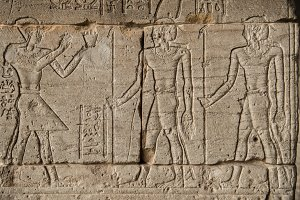 Pharaohs and warriors on wall