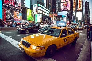 Yellow cab on Times Square