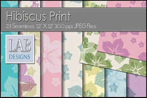 23 Hibiscus Floral Print Textures