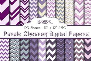 Purple Chevron Digital Papers