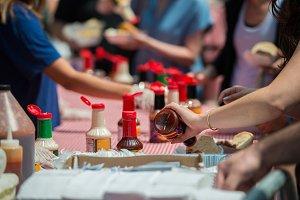 People at street food festival